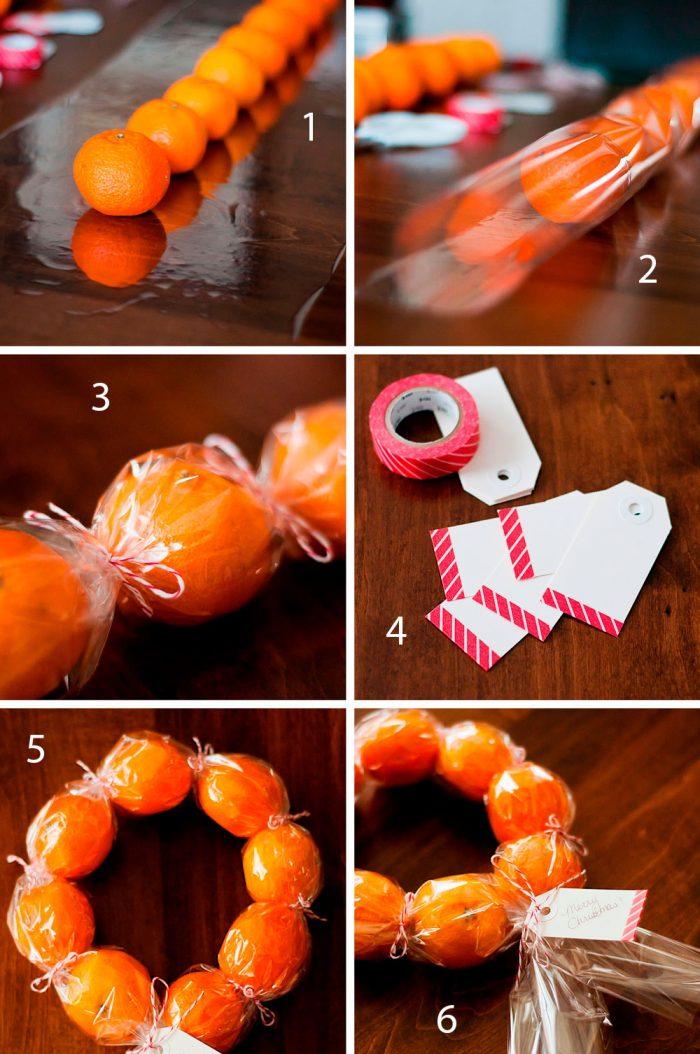 Венок из мандарин пошаговый мастер-класс