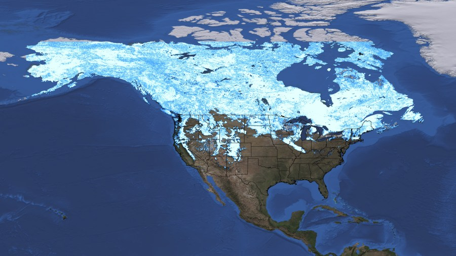 SVS  North America Snow Cover Maps     Right click images to download them if they automatically display in  your browser  Snow Cover Map of North America