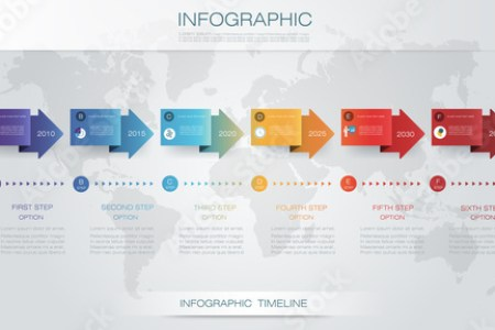 Vector infographics timeline design template with 3D paper label and     Vector infographics timeline design template with 3D paper label and graph  6 steps options  For