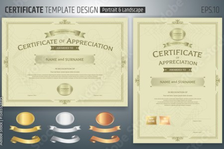 Set of certificate of appreciation template with award ribbon on     Set of certificate of appreciation template with award ribbon on abstract  guilloche background with vintage border