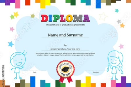 Kids Diploma or certificate template with colorful stripe background     Kids Diploma or certificate template with colorful stripe background
