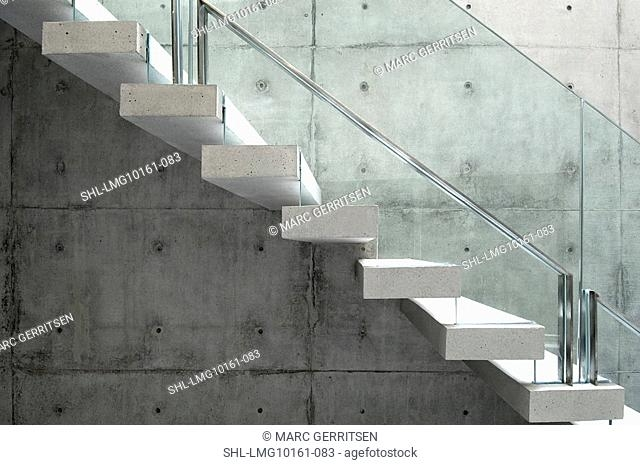 Concrete Floating Stairs With Glass Railing Stock Photo Picture | Floating Stairs With Glass Railing | Duplex Balcony | Combination Glass | Glass Balustrade | Crystal Handrail | Innovative Glass