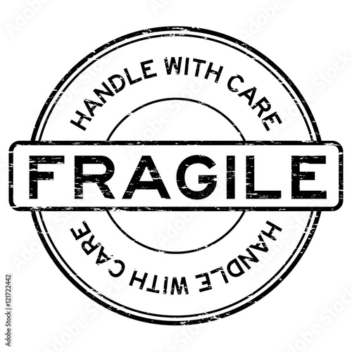 """Grunge black fragile handle with care rubber stamp"" Stock ..."