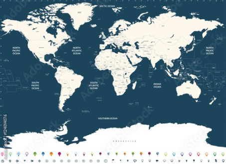 vector high detailed world political map with countries and oceans     vector high detailed world political map with countries and oceans names  and location navigation icons