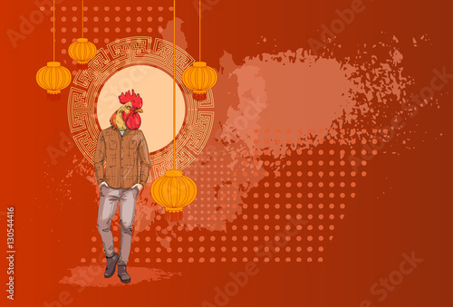 Cartoon Rooster Hipster Wearing Jeans Over Chinese Traditional     Cartoon Rooster Hipster Wearing Jeans Over Chinese Traditional Background  Happy 2017 New Year Symbol Vector Illustration