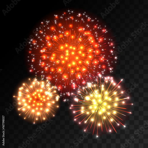 Colorful fireworks explosion on transparent background  Red  orange     Colorful fireworks explosion on transparent background  Red  orange and  yellow lights  New Year