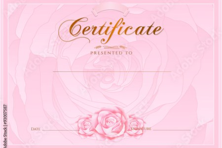 Certificate  Diploma of completion  Rose design template  flower     Certificate  Diploma of completion  Rose design template  flower  background  with floral