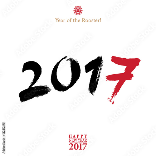 Calligraphy 2017 Happy New Year sign card with Rooster   Stock photo     Calligraphy 2017 Happy New Year sign card with Rooster
