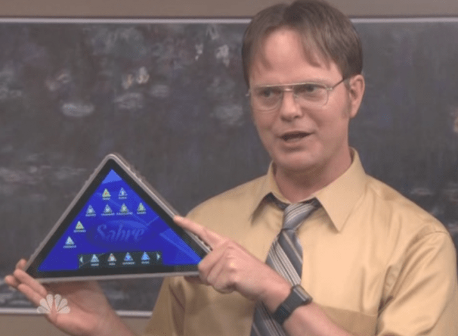 The Office Tv Show Gets Its Own Sabre Tablet Video
