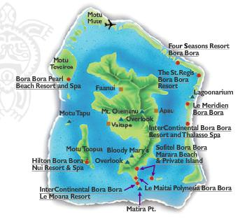 Tahiti Islands Map | Overwater Bungalows | Luxury ...