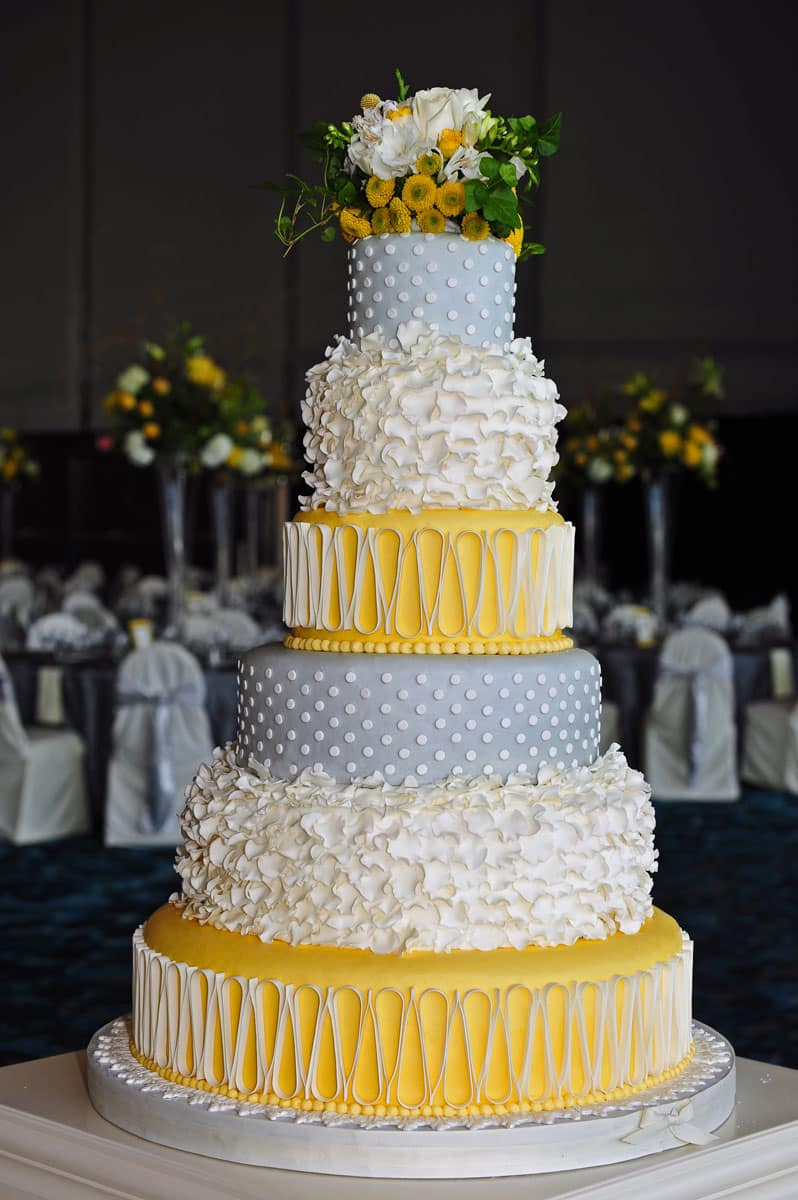 Wedding Cake Gallery   Take the Cake Yellow Grey and White