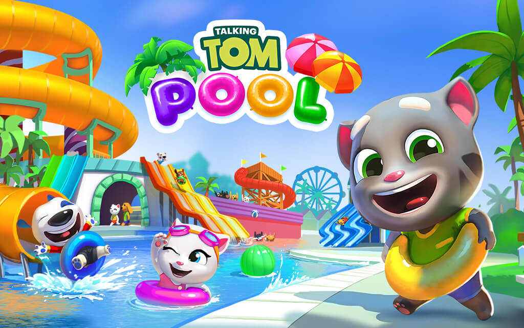 Talking Tom     Talking Tom and Friends        sling and match    puzzle game  Grab your bathing suit  complete levels  to earn keys and then use the keys to unlock  build  and customize the  water park
