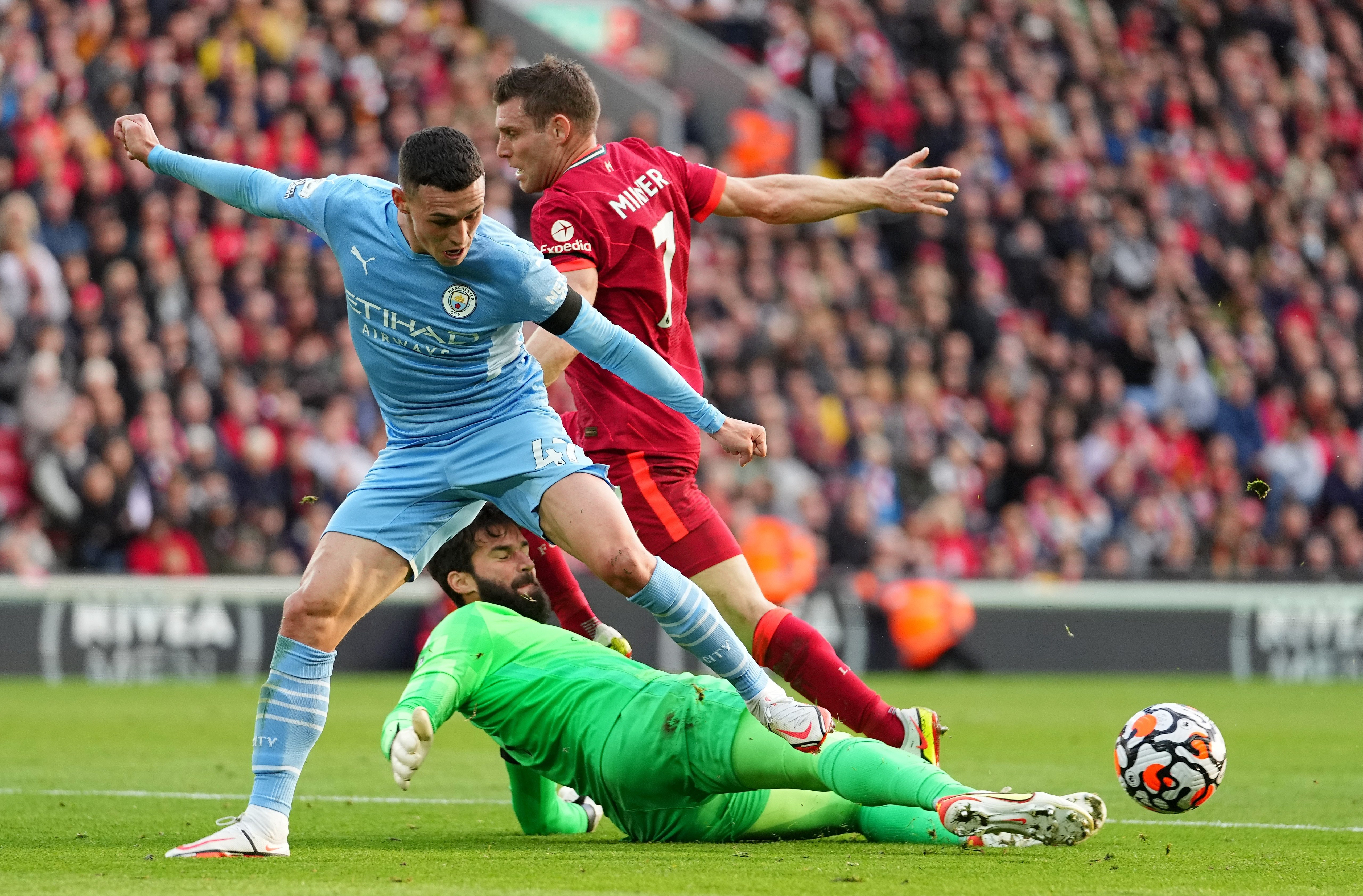 Alisson Becker was left to thwart Foden during the first half