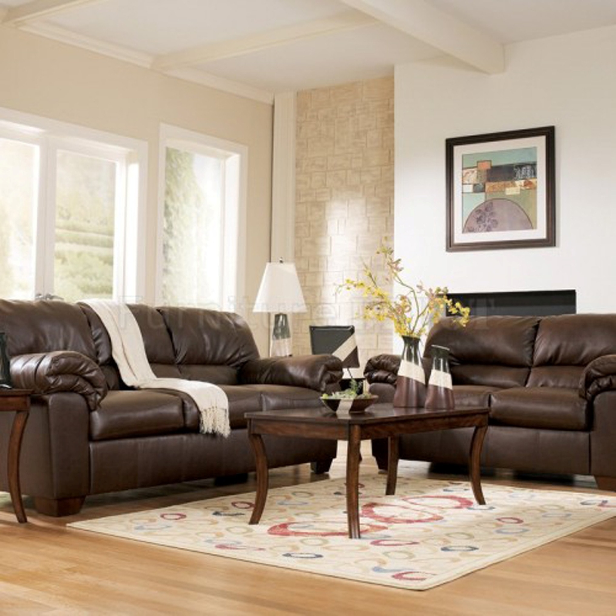 Family Room Brown Sofa
