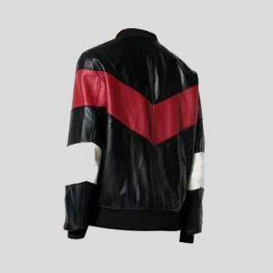 Chevron Stripe Leather Bomber Jacket