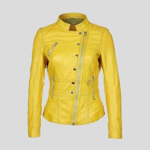 Compare CLOSE Women Lambskin Leather Biker Jacket