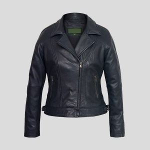 Women's Navy Leather Motorcycle Jacket