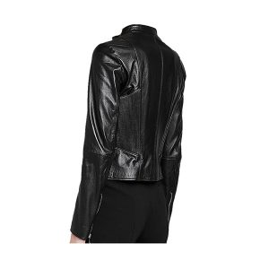 Black Collar Style Women Leather Jacket