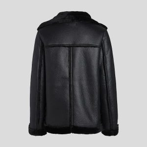 Black Leather Shearling Jackets for Womens