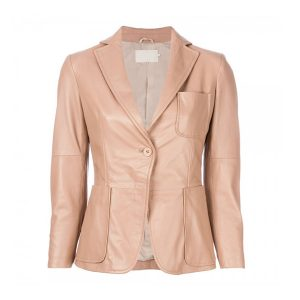 CLASSIC FITTED BLAZER STYLE WOMEN LEATHER JACKET