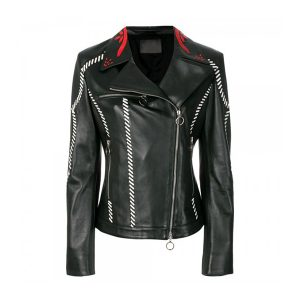 Embroidered Fitted Biker Style Women Leather Jacket