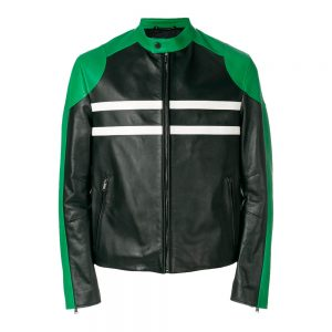 Green Leather Biker Jacket