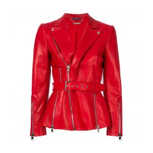 Red Zipped Biker Style Women Leather Jacket
