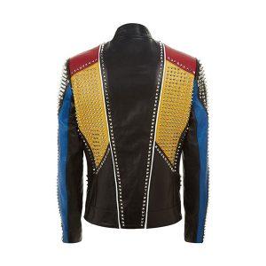Studded Punk Men Leather Jacket in Multi Color