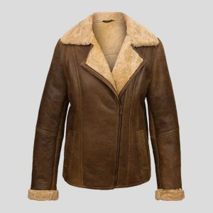 Women's Antique Brown Sheepskin Flying Jacket