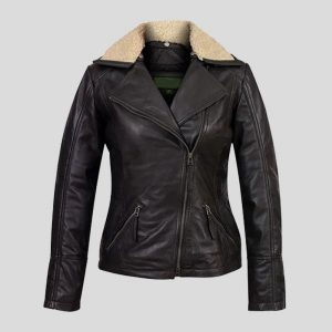 Women's Black Leather Flying Jackets 1