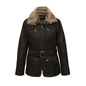 Women's Black Shearling Leather Jacket