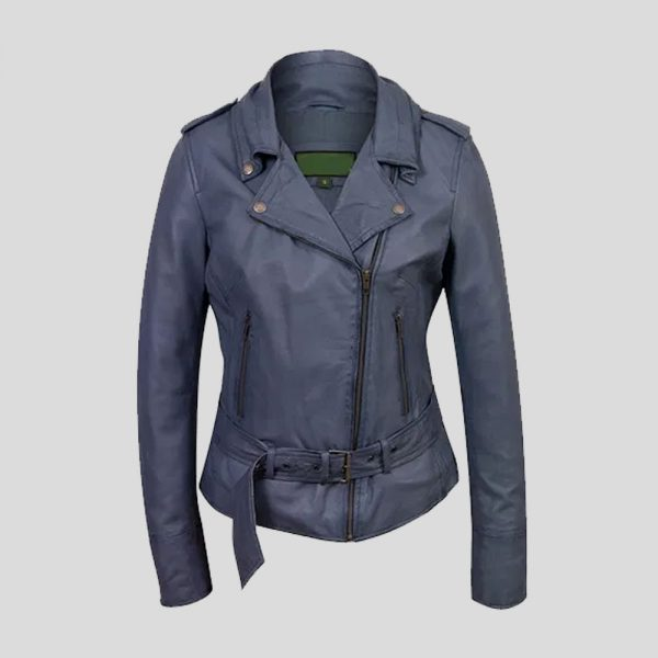 Women's Blue Leather Biker Jacket