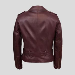 Women's Burgundy Real Leather Biker Jacket
