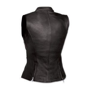 Black cowhide women leather vest