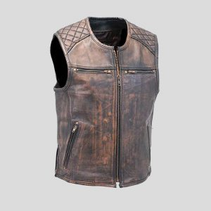 Men's Vintage Brown Quilt Shoulder Leather Gun Vest