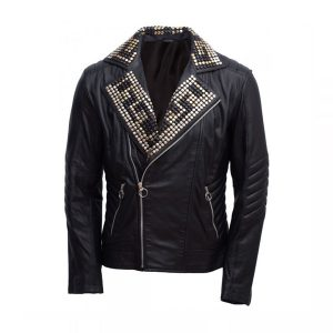 Men's Magnificent Padded Leather Jacket with Black Silver Gold Contrast Studs2