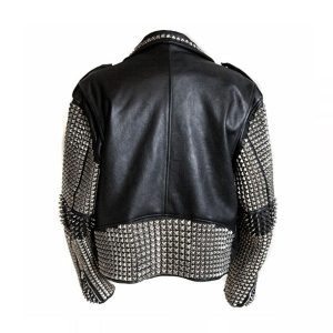 New Men's Full Black Punk Silver Spiked Studded Cowhide Leather Jacket