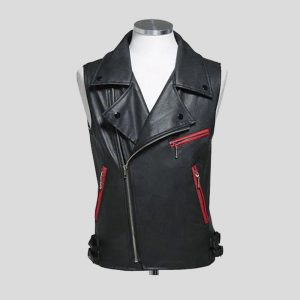 Black Ideal Leather Vest for Mens with Red Zipper Pocket