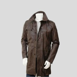 Lang ford Brown Leather Men's Three Quarter Length Coat