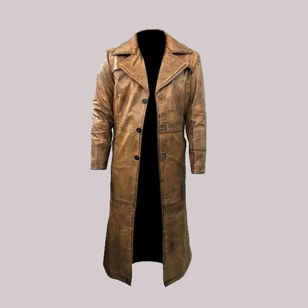 New Trench Men Style Full Length Tan Waxed Double Shaded Belted Coat