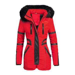 Red High Quality Winter Parka Quilted Hood Coat Womens Jacket - Tapfer