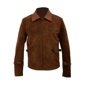 Allied Brad Pitt Brown Suede Leather Jacket - Tapfer