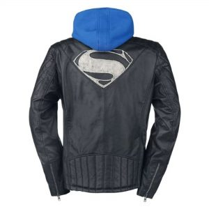 Superman Genuine Real Leather Jacket with Hoodie