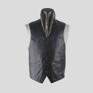 Mens Black Leather Ideal Vest