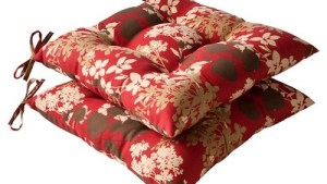 Outdoor 2 Piece Tufted Chair Cushion Set Brown/Red