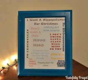 12 Frugal Days of Christmas Day 3: I Want A Hippopotamus For Christmas FREE Printable