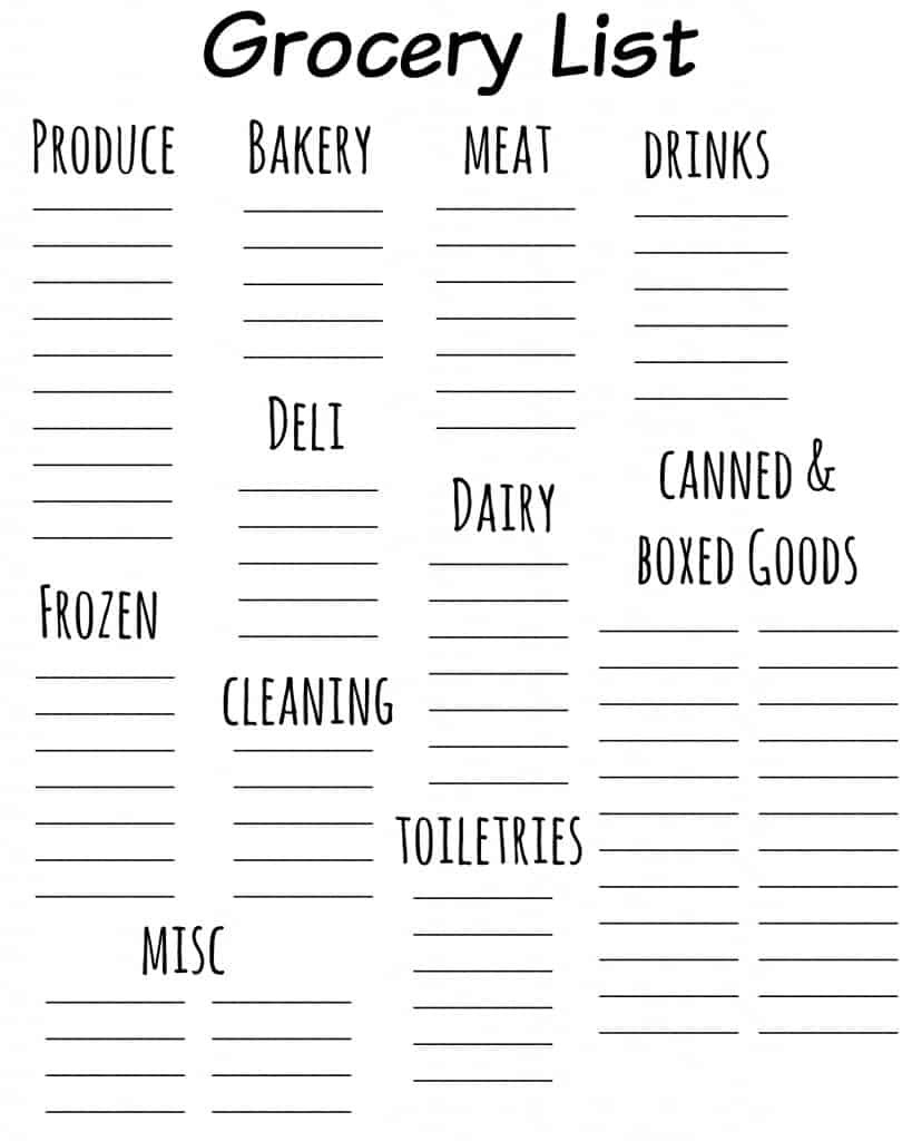 Free Grocery List Printable