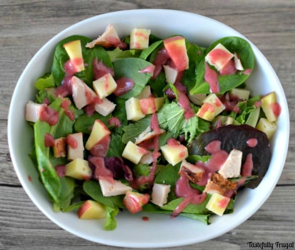 Turkey & Swiss Salad with Cranberry Citrus Vinaigrette: A great way to use those Thanksgiving Dinner leftovers |Tastefully Frugal