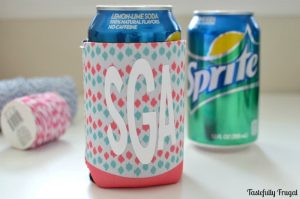 DIY Monogram Can Koozie Teacher Gift: A Perfect Teacher Appreciation Gift for less than $5 | Tastefully Frugal