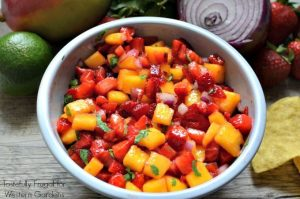 Strawberry Mango Salsa: The perfect addition to any summer BBQ | Tastefully Frugal